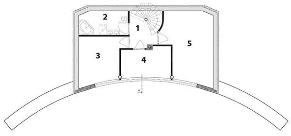 Pôdorys poschodia 1 chodba 2 kúpeľňa 3 izba 4 izba 5 izba