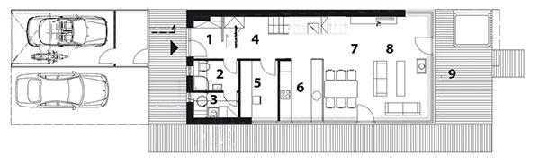 Pôdorys prízemia 1 zádverie 2 WC, kúpeľňa 3 technická miestnosť, práčovňa 4 chodba 5 pracovňa, hosťovská izba 6 kuchyňa 7 jedáleň 8 obývačka 9 terasa