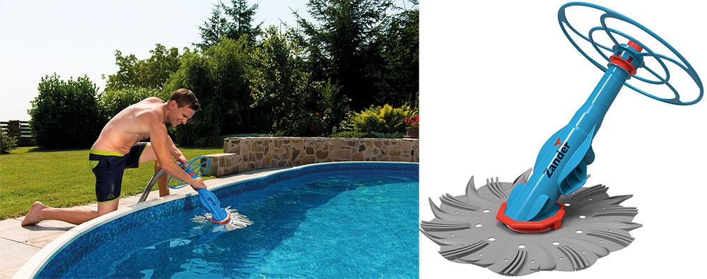 Údržba bazénov je aj v lete ľahkou záležitosťou, ak máte tých správnych pomocníkov, ako sú bazénové vysávače. Poloautomatický vysávač Zander (akciová cena 85 €) za vás vyčistí ako dno, tak aj steny bazéna.