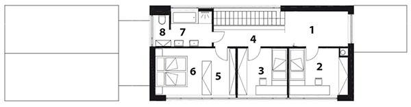 Pôdorys poschodia 1 herňa 2 detská izba 3 detská izba 4 chodba 5 šatník 6 spálňa 7 kúpeľňa 8 WC