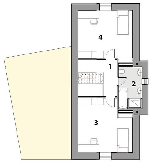 Pôdorys poschodia 1 galéria 2 kúpeľňa  3 detská izba  4 detská izba