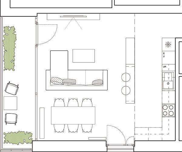 Dispozícia je delená prostredníctvom nábytku na kuchynskú, jedálenskú a obývaciu časť. Posledná menovaná ostala centrom priestoru, zatiaľ čo kuchyňa je opticky čiastočne krytá knižnicou.