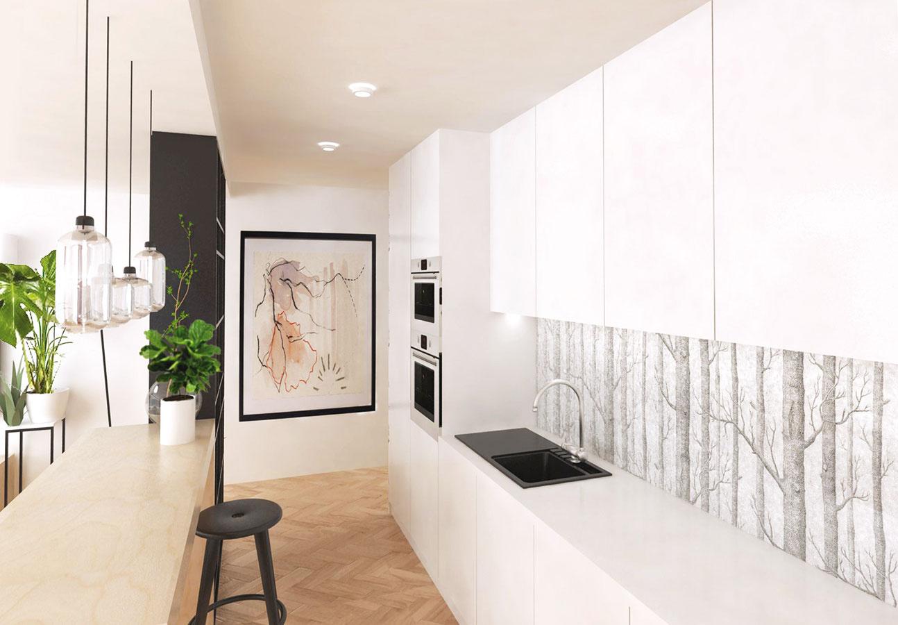 Kuchynskú zástenu tvorí transparentné kalené sklo. Vidno cezeň otapetovanú stenu, ktorá plynule pokračuje na stene v chodbe. Tým je kuchynská linka viac prepojená so zvyškom bytu.