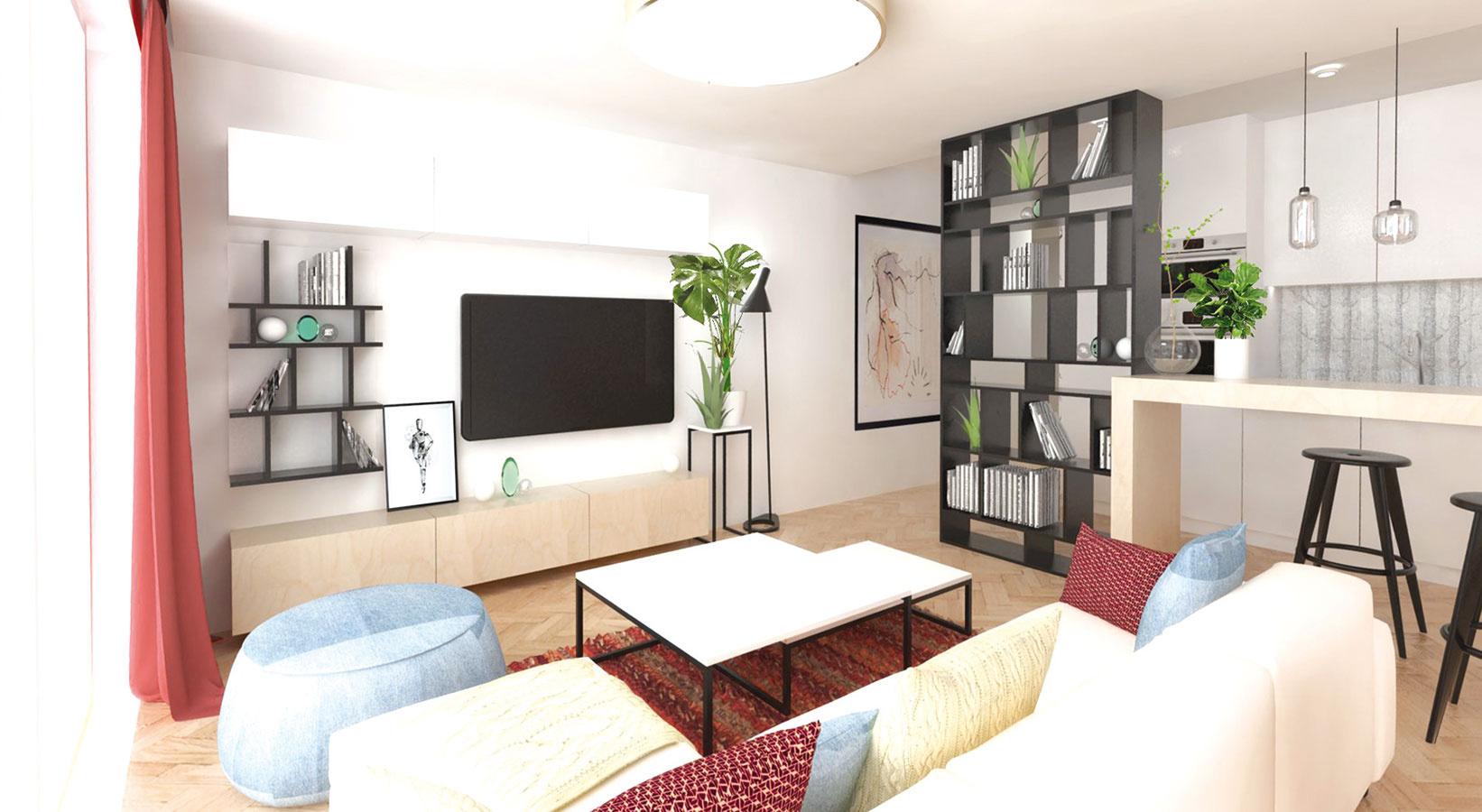 TV stenu tvoria dve uzavreté skrinky a plytká vitrína s rastrom zhodným s knižnicou, ktorá oddeľuje kuchyňu od obývačky.