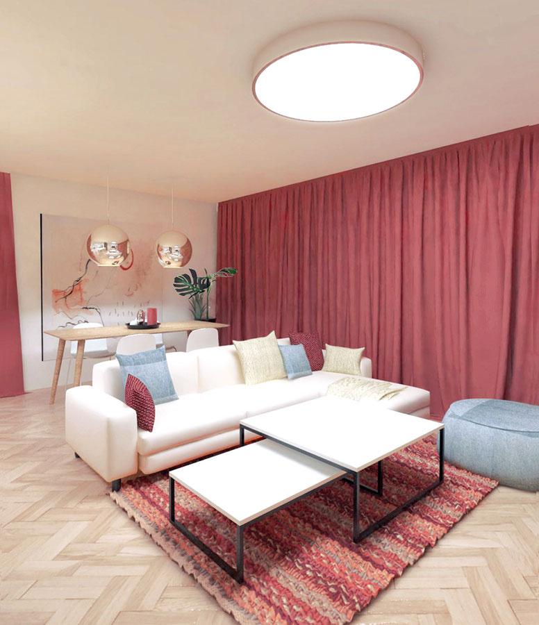 Nočná scéna necháva naplno vyniknúť červenú, ktorá v tomto prípade robí rovnaký dojem ako farebná stena.