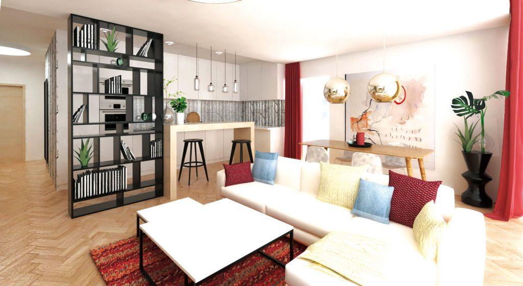 Priestranná obývacia izba zariadená farebne, ale elegantne