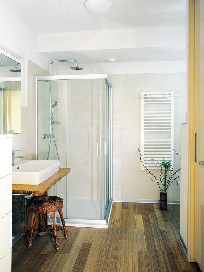 Kúpeľňa vychádza zrovnakého štýlu aj farebnosti ako vo zvyšku priestoru. Vaňu nahrádza sprchovací kút. Podlahy sú drevené azaujímavým prvkom je pult, na ktorom je umiestnené umývadlo.