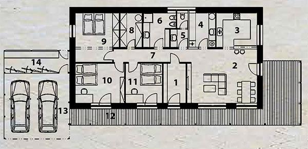 Pôdorys domu 1 vstup do domu 2 obývacia izba sjedálenským sedením 3 kuchyňa 4 technická miestnosť 5 samostatné WC 6 kúpeľňa sWC 7 chodba 8 šatník 9 spálňa 10 izba 11 izba 12 terasa 13 prístrešok pre dve autá 14 kôlňa/sklad