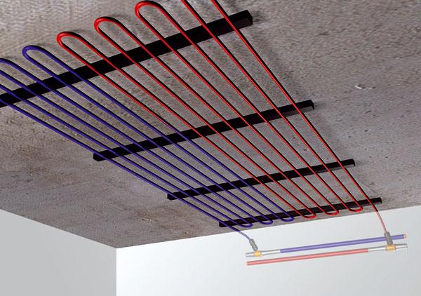 Tepelné čerpadlo a chladiace stropy