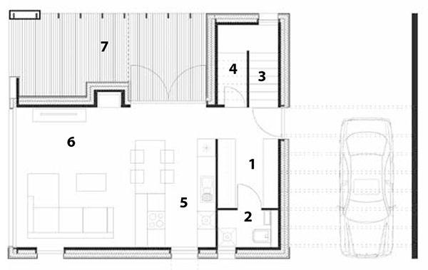 Pôdorys prízemia  1 šatník, 2 WC, 3 schodisko, 4 sklad, 5 kuchyňa, 6 obývacia izba, 7 terasa
