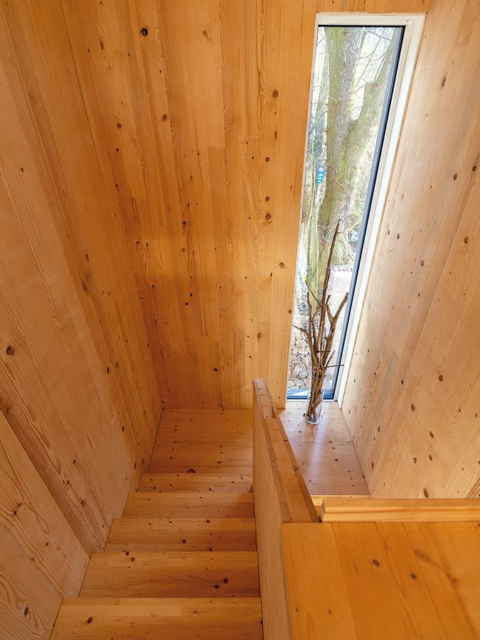 Surové drevo malo byť pôvodne ukryté pod obkladom, avšak po dokončení stavby sa architekt rozhodol nechať ho vo veľkej miere priznané.