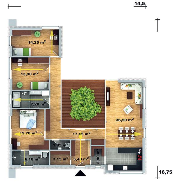 Átriový dom vhodný do mestskej zástavby