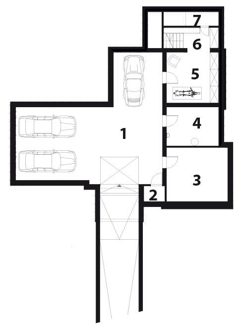 PÔDORYS SUTERÉNU 1 garáž 2 serverovňa 3 pivnica (sklad) 4 technická miestnosť 5 vchod 6 schodisko 7 pivnica (sklad)