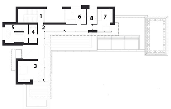PÔDORYS PRÍZEMIA 1 hlavný vchod 2 kuchyňa 3 jedáleň 4 obývačka 5 študovňa 6 schodisko 7 chodba 8 wc