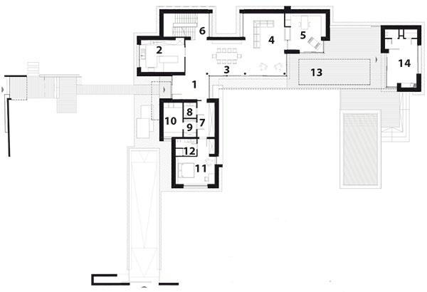 PÔDORYS 1. POSCHODIA 1 schodisko 2 chodba 3 izba 4 šatník 5 kúpeľňa 6 izba 7 izba 8 kúpeľňa 9 šatník 10 práčovňa 11 hosťovská izba 12 kúpeľňa  13 terasa 14 wellness