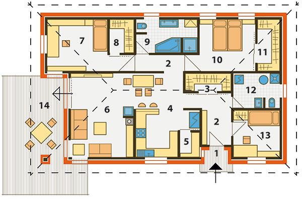 Pôdorys domu 1 vstup, závetrie 2 chodba 3 šatník 4 kuchyňa, jedáleň 5 špajza 6 obývačka 7 detská izba 8 šatník 9 kúpeľňa 10 spálňa  11 šatník 12 hosť. WC atechnická miestnosť 13 pracovňa/hosťovská izba 14 terasa