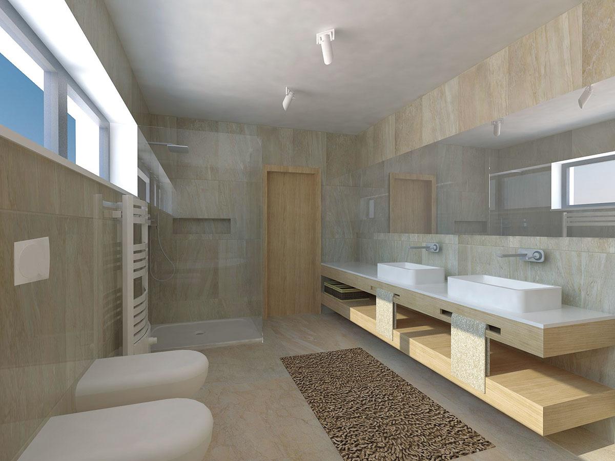 Prepojenie kúpeľne atoalety je otázkou priorít. Ak má však domácnosť troch aviac členov, mali by byť samostatné alebo by sa vinteriéri mala nachádzať ešte jedna toaleta – ideálne pri vstupe, aby poslúžila aj vprípade návštev. (foto: študentská práca)