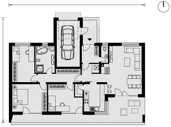 Dispozícia prízemného domu je rozdelená na dennú časť sobývačkou akuchyňou na východe ana pokojnú zónu so spálňami apracovňou na západe. Do domu sa vstupuje zo severnej strany, kde je situovaná aj garáž, kúpeľňa apracovňa na konci chodby. Všetky izby majú veľké okná orientované na juh apriamy kontakt sterasou azáhradou sbazénom.
