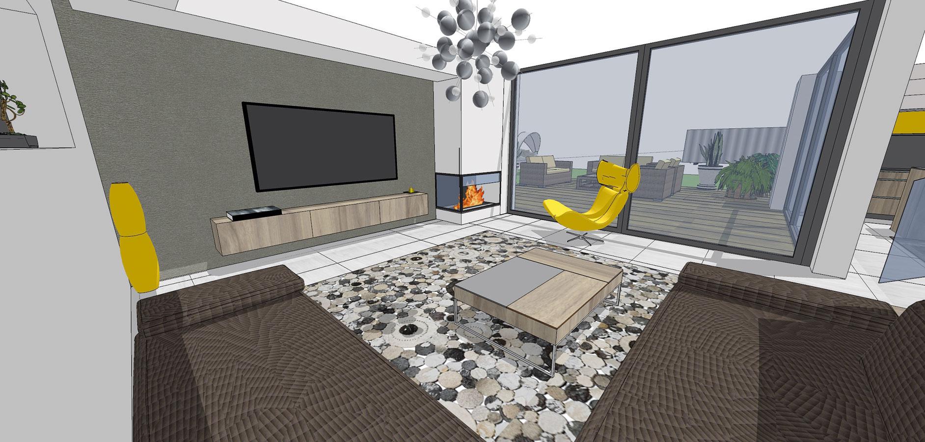 Použitím kontrastnej farby vnesiete do obývacej miestnosti trochu dynamiky inapätia. Zopakovať ju pokojne môžete aj na viacerých prvkoch, napríklad na kresielku asvietidle, prípadne na dekoráciách. (študentská práca)