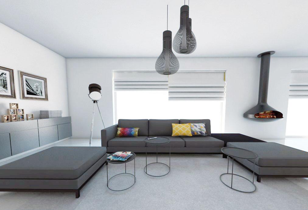 Sivá hrá prím nielen vseversky ladených interiéroch. Vobývacích izbách je jednou znajobľúbenejších farieb. Vzhľad priestoru môžete zjemniť pestrejšími vankúšmi asubtílnymi príručnými stolčekmi. (študentská práca)