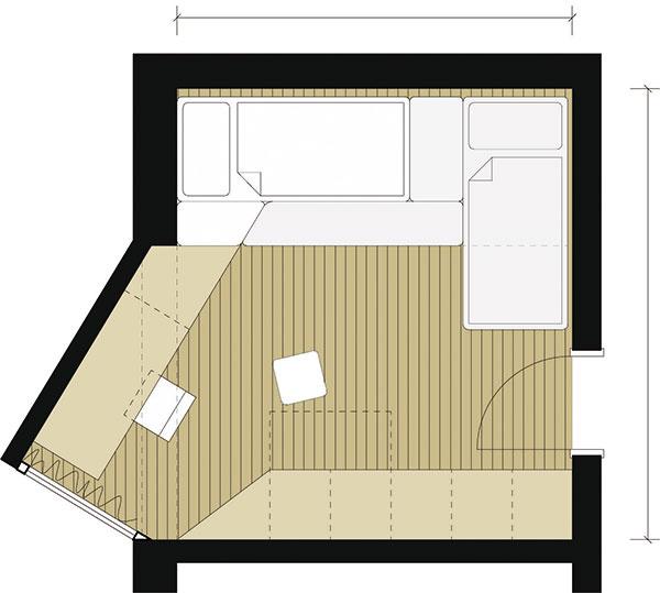 Detská izba satypickým pôdorysom je rozdelená na tri zóny sodlišnými funkciami – spanie aoddych, učenie, odkladanie. Takmer celú miestnosť môžu deti zároveň využívať na hranie.