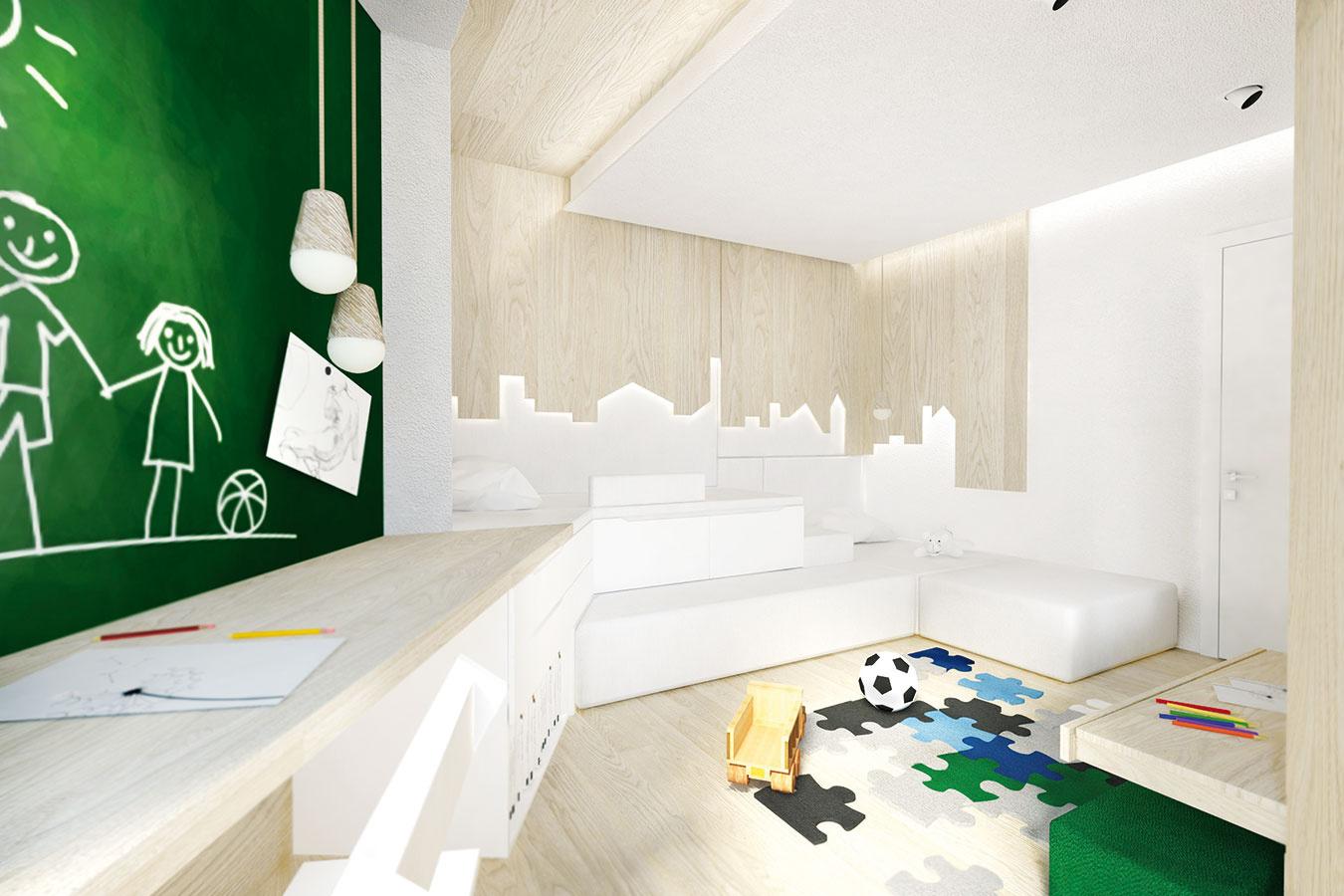 Atmosféru miestnosti oživujú štyri typy osvetlenia – nepriame lineárne osvetlenie vnikách vstrope, funkčné stmievacie osvetlenie nad skriňou, zavesené svietidlá nad stolom avečerné osvetlenie pod panelmi pri posteli.