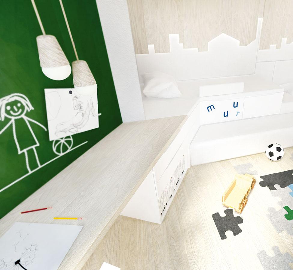 Plochy nábytku či stien natreté tabuľovou farbou patria k obľúbeným prvkom dnešných interiérov (nielen detských izieb). Zaslúžene. Vyzerajú totiž dobre a dajú sa šikovne využiť na odkazy, poznámky či zábavu.
