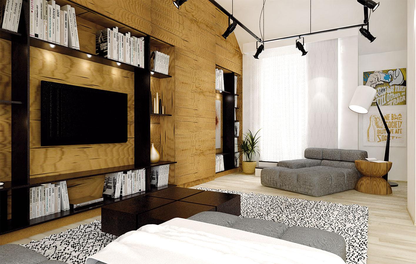 Nábytková stena je rozdelená na časť s TV a knižnicu, najvyššie miesta slúžia ako úložné priestory.