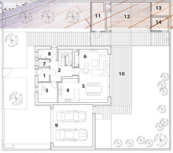 Pôdorys prízemia 1 zádverie/vstup do domu   2 hala so schodiskom  3 pracovňa  4 kuchyňa  5 jedáleň  6 obývacia izba  7 toaleta  8 technická miestnosť  9 garáž  10 terasa