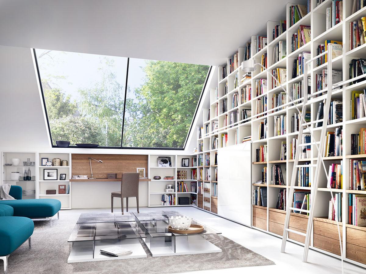 Variabilné nábytkové zostavy, z ktorých si zostavíte knižnicu presne podľa svojich potrieb, nájdete aj v sortimente značky Hülsta. (Predáva Merito.)