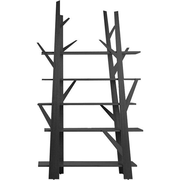 Knižnica Veliero od značky Cassina, dizajn Franco Albini, piliere z jaseňového dreva s leštenou mosadzou na koncoch, spájacie tyče z nehrdzavejúcej ocele, kotviace prvky z lešteného železa, police z tvrdeného bezpečnostného skla, 205,5 × 266 × 55 cm, cena na vyžiadanie, predáva Konsepti.