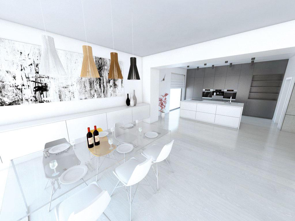 Biela asivá sú vinteriéri, kuchyňu nevynímajúc, obľúbenou klasikou. Farby atrochu dynamiky môžete do otvoreného priestoru vniesť napríklad výberom tvaru afarebnosti svietidiel vjedálenskej časti (študentská práca).