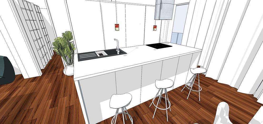 Systém zásuvných dvierok či skôr dverí umožňuje skryť všetky police aj kuchynské spotrebiče niekoľkými nenáročnými pohybmi. Kuchyňa tak bude vždy pôsobiť čistým dojmom abezpochyby nadchne nielen milovníkov minimalizmu (študentská práca).
