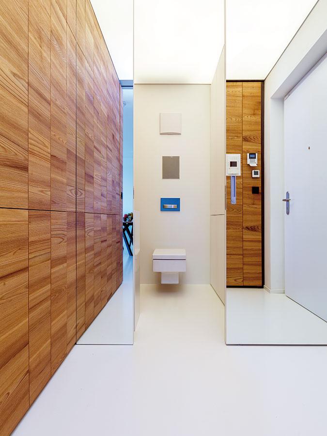 Do toalety pri vstupných dverách sa vďaka jej veľkorysým rozmerom zmestila aj práčka so sušičkou atiež vstavaná skriňa na bielizeň auteráky.