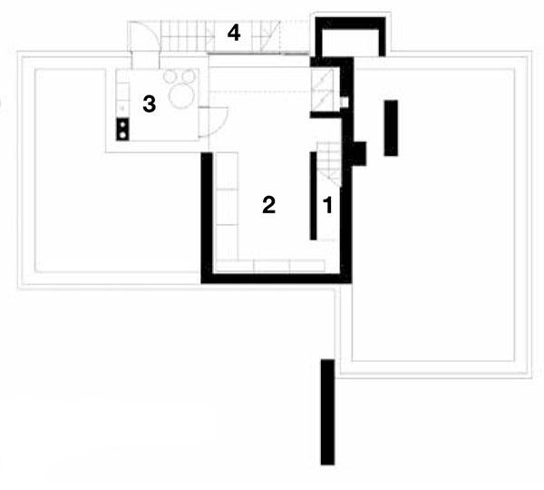 Pôdorys suterénu 1 schodisko 2 sklad 3 technická miestnosť 4 schodisko