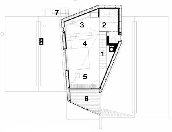 Pôdorys poschodia 1 schodisko 2 kúpeľňa stoaletou 3 šatník 4 spálňa 5 pracovný kút 6 terasa 7 schodisko