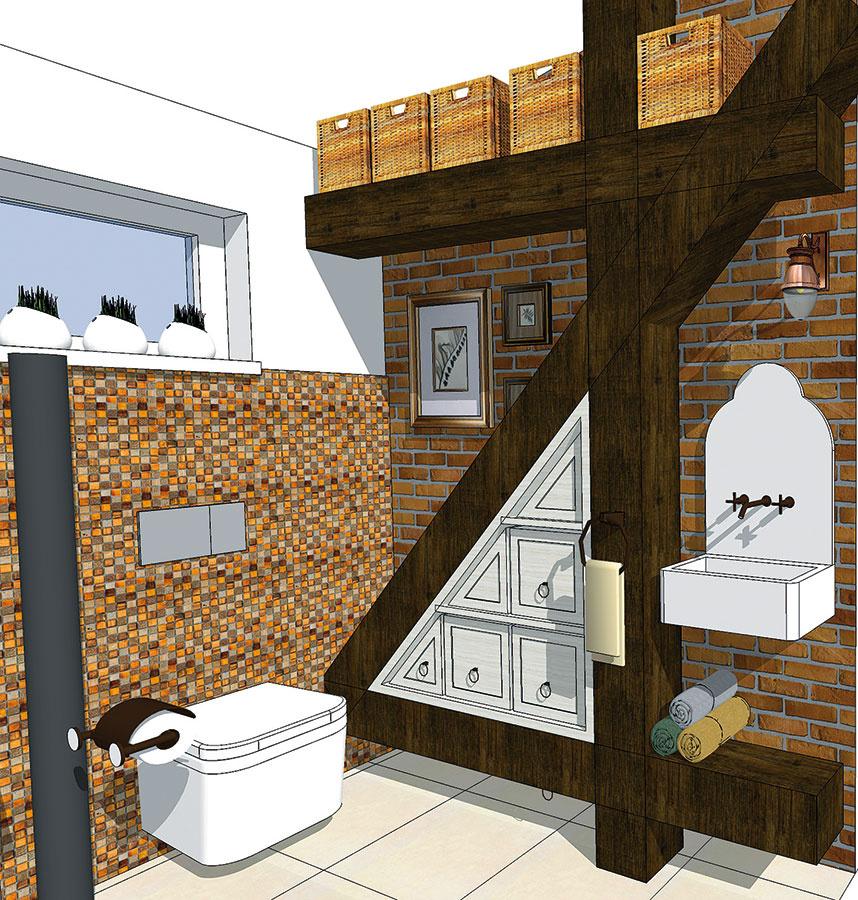 Do steny zapustené závesné toalety predstavujú elegantné ačisté riešenie, Výhodou je aj skutočnosť, že priestor pod nimi sa jednoducho čistí (študentská práca).