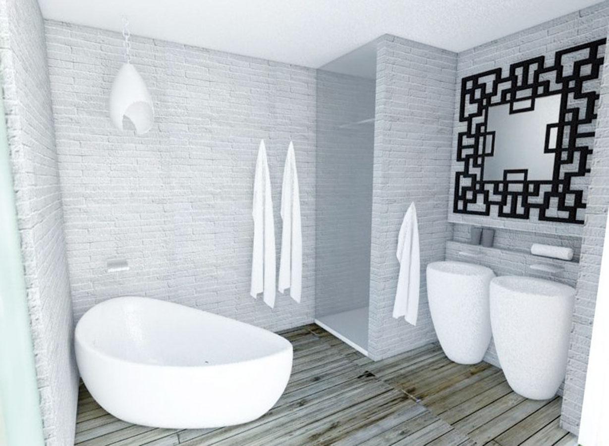 Sortiment kúpeľňovej sanity je naozaj pestrý. Zvoliť si môžete hranaté aj oblé tvary, presne podľa svojich preferencií. Charakter kúpeľne určí napríklad aj výraznejšie zrkadlo (študentská práca).