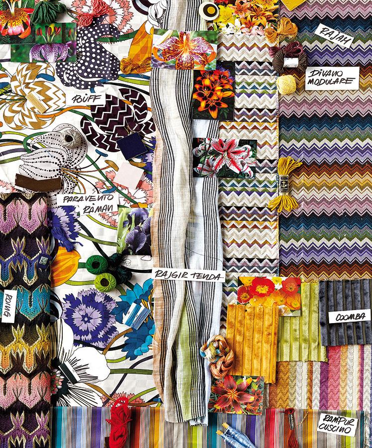 Geometrické hýrenie. Jednotlivé farebné kombinácie sú vytiahnuté zkvetov azoskupené do výrazných textílií značky Missoni Home vhodných prakticky na každú funkciu.
