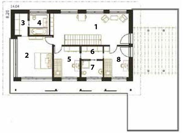 Pôdorys poschodia 1 pracovňa 2 spálňa 3 šatník 4 kúpeľňa 5 izba 6 chodba/šatník 7 kúpeľňa 8 izba