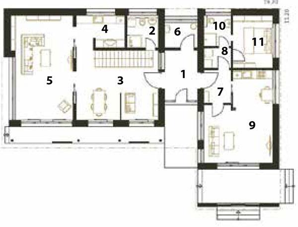 Pôdorys prízemia 1 predsieň 2 kúpeľňa 3 jedáleň 4 kuchyňa 5 obývačka 6 technická miestnosť 7 predsieň 8 šatník 9 obytný priestor skuchyňou 10 kúpeľňa 11 spálňa