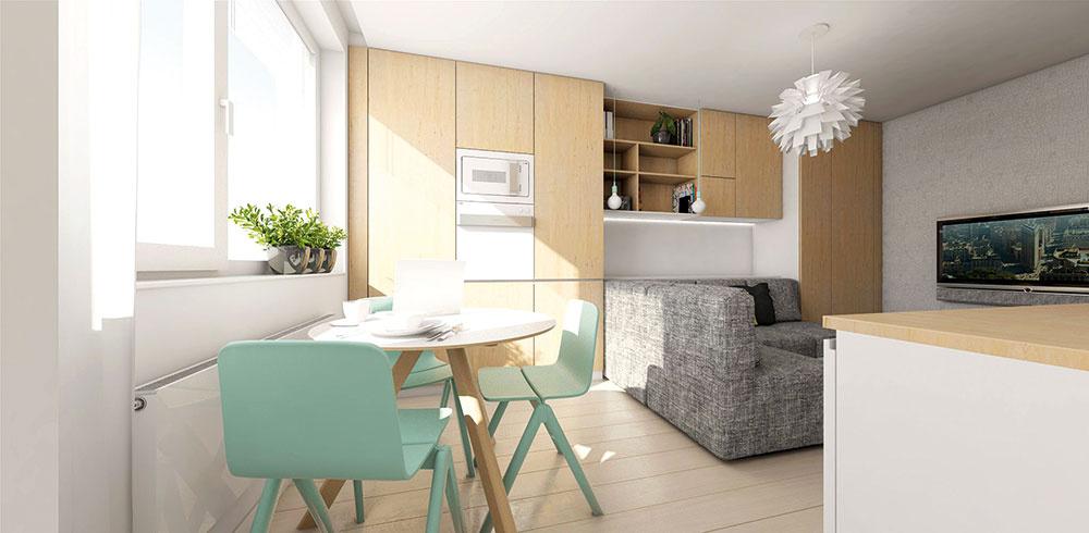 Prvé tri moduly na mieru zhotovenej nábytkovej zostavy vobývacej izbe patria kuchyni. Nachádzajú sa tu zabudované spotrebiče – chladnička, vstavaná rúra smikrovlnkou a potravinová skriňa.