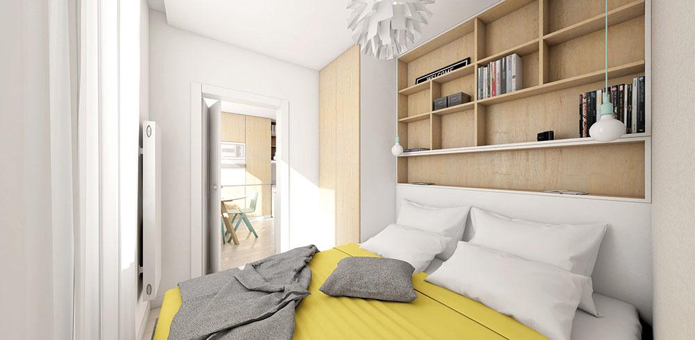 Zpôvodnej malej kuchyne vznikla menšia, no plnohodnotná spálňa. Sympatickým prvkom je na mieru zhotovený policový systém za posteľou, ktorý poslúži napríklad ako knižnica.