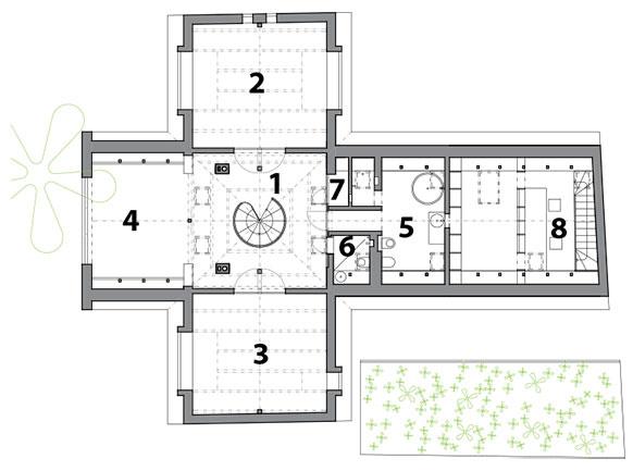 """Poschodie – nový stav 1 hala, 2 a3 spálňa, 4 vyhliadka (""""lebedín""""), 5 kúpeľňa, 6 WC, 7 sklad, 8 ateliér"""
