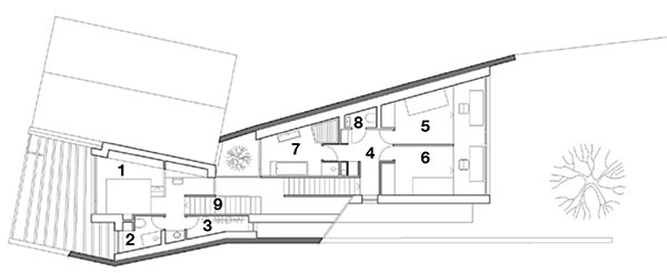 Pôdorys poschodia 1 spálňa  2 kúpeľňa 3 šatník 4 chodba 5 detská izba 6 detská izba 7 kúpeľňa 8 WC 9 schodisko