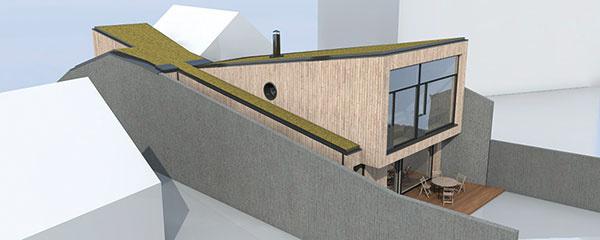 Zadná zasklená fasáda sa otvára na juh, do záhrady. Tvar stavby sprotismerným sklonom pultových striech, ktorý pripomína ležiace presýpacie hodiny, pomohol zabezpečiť presvetlenie úzkeho domu, jeho vetranie aj zásobovanie teplom.