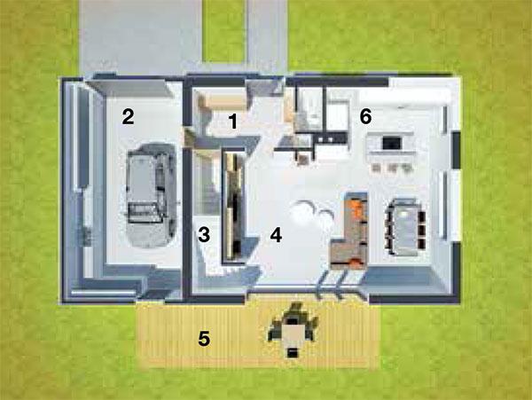 Pôdorys prízemia 1 predsieň 2 garáž apriestor na záhradnú techniku 3 schody 4 otvorený denný priestor 5 terasa 6 WC