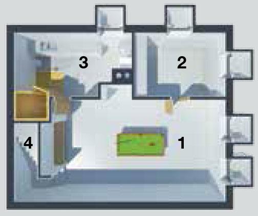 Pôdorys suterénu 1 pobytový priestor (biliard) 2 hosťovská izba 3 technická miestnosť, kúpeľňa, sauna 4 schody