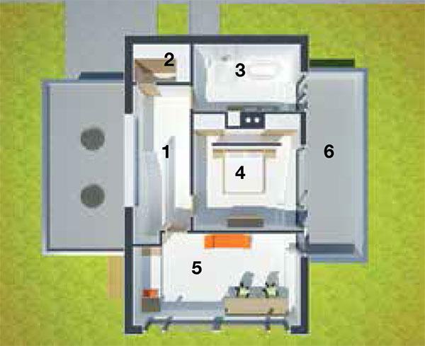 Pôdorys poschodia 1 schody 2 šatník 3 kúpeľňa 4 spálňa 5 detská izba 6 strešná terasa