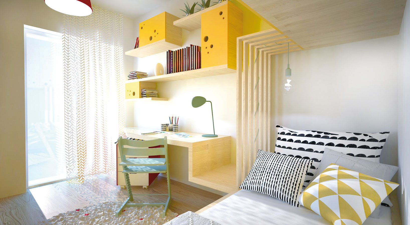 Bunker zpostele. Úložné priestory zámerne prekrývajú časť postele. Pridaním žiarovkového svietidla sa premení na kútik na čítanie.